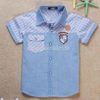 Free shipping 2014 summer new children 's wear boy short-sleeved denim pocket plaid casual kids shirt  short sleeve c3-447