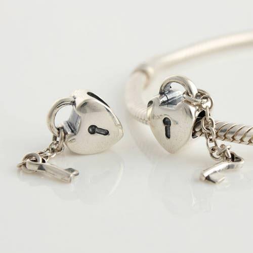 Fits Pandora Original Charms DIY Bracelet 925 Sterling Silver Bead Love Lock Key Pattern Charm Jewelry