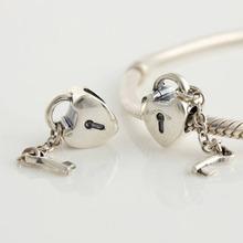 LW081 2014 NEW Free Shipping 1pc Jewelry 925 Silver Bead heart lock key European women Charm Beads Fits pandora Style Bracelets