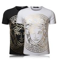 New Arrive ! 2014 Printed Men T Shirt Round Neck Embroidery Men's T Shirts Plus Size M~3XL