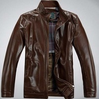 2014 new fashion genuine leather clothing thick jacket down jacket and fur collar men's leather jacket, Free Shipping,228