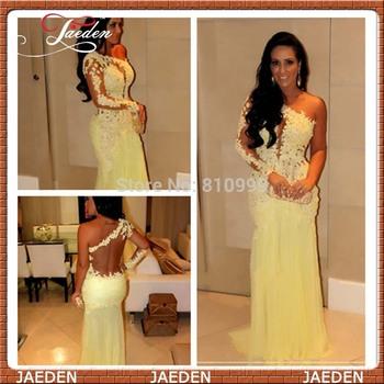 Pp245 на складе горячий сексуальный одно плечо с длинным рукавом смотрите через назад русалка желтый шифон кружева длинные вечера женщин пром платья 2014