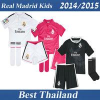 Real Madrid 14 15 Kids Soccer Jersey Ronaldo James Kross Boys Children Youth Home Away Third Black Shirt +Socks As Gift