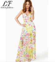 2014 New Women Summer Fashion Splitdeep V Neck Flower Printing Dresses Sleeveless Beach Dress free shipping