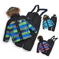 Retail 5-9Y fashion winter ski baby&kids clothing set New 2014 good quality windproof warm 3pcs suit(waterproof coat+vest+pants)