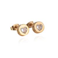 18k gold plated lovely heart shape hollow round  white zircon classic design stud earrings for women wholesale