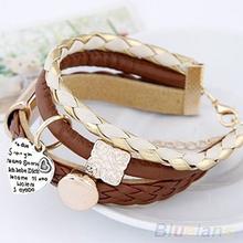 2014 New Fashion Lady Women's Stylish Jewelry Brown Leather Gold Metal Heart Bracelet 1N92(China (Mainland))