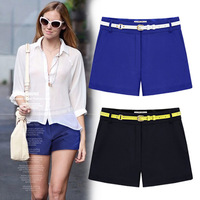 2014summer Plus size(S-3XL) high-grade yarn fabrics thin casual short pants with black\blue New Arrival Korean style hot sale