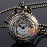 Free shipping Women dress watches hollow small electronic watch retro Necklace minimalist trend flip bronze retro watch Pendant