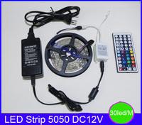 5050 RGB led strip Non-waterproof 5M 150led DC12V high brightness +44Key RGB controller + 12V3A power adapter
