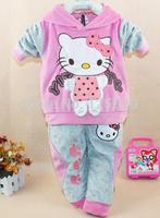 1lot/3set,Hot explosive edition children's clothing! KT cat velvet sports suit autumn models girls hooded sweater piece 1196