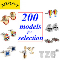 Mix order! 200 Popular Models for Selection (MOQ=1) Stainless Steel Cufflink Cuff Link Free Shipping