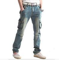 Large size jeans men 6xl plus size 28 to 48 hot sale water wash pockets cargo casual cool long pants denim jeans