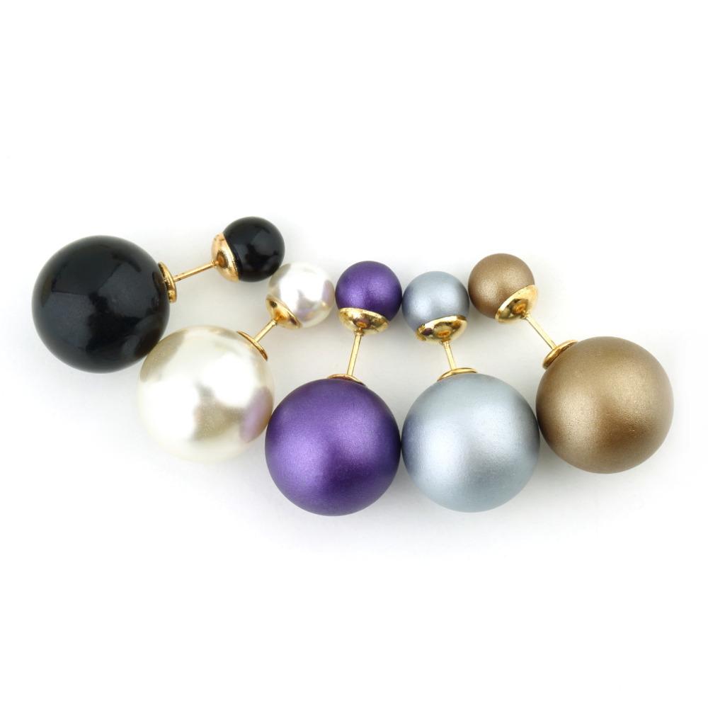 Celebrity Runway Double Pearl earrings Beads Plug Earrings Ear Studs Pin(China (Mainland))