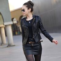 M-5XL New Arrival 2014 Spring Women Genuine Sheepskin Leather Clothing Design Leather Short Jacket Slim Elegant The Trend