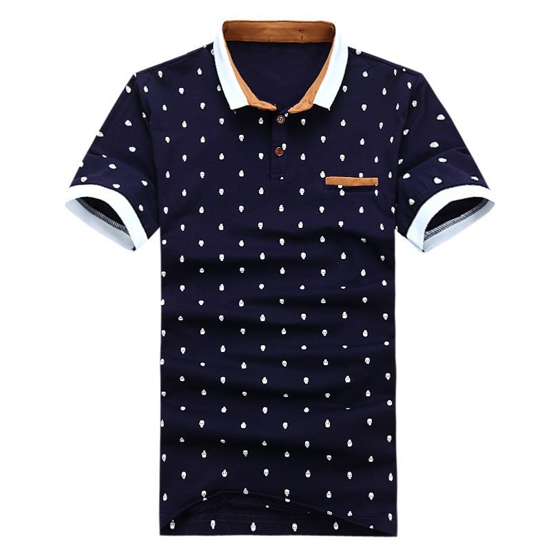 New 2014 Mens Summer Hot Sale 4 Colors Skull Dots Cotton Short Sleeve Polo shirt Men Designer Brand Clothing shirts Black Blue(China (Mainland))