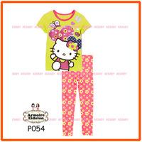15 August Girls Hello Kitty Pajamas Sets Kids Autumn -Summer Clothing Set New 2014 Wholesale Children Cartoon Pyjamas P054