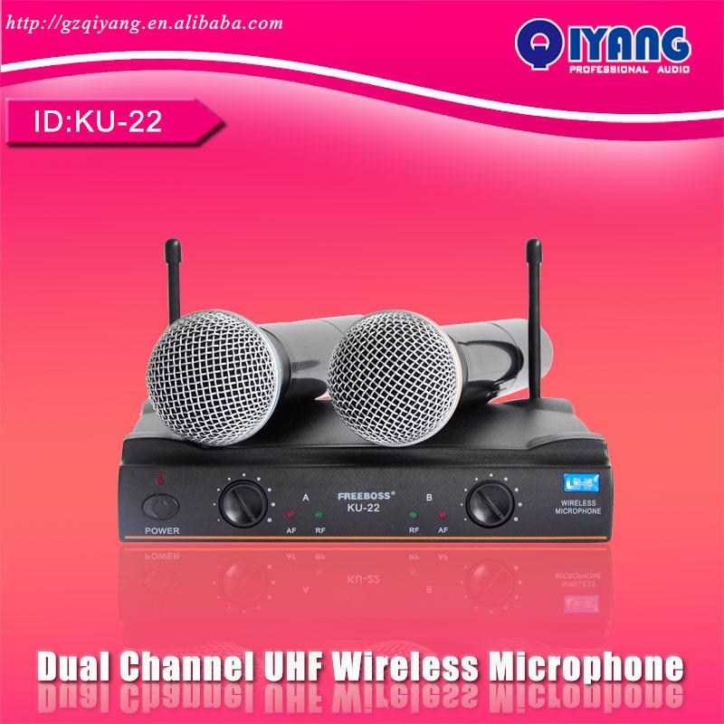 uhf de largo alcance de doble canal 2 de mano del transmisor de micrófono de karaoke profesional de micrófono inalámbrico uhf sistema de electrónica de consumo