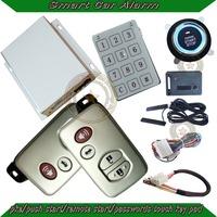 pke car alarm system with popular car smart key,universal model,push start/stop button,remote start/stop,shock/side door alarm