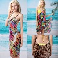 2014 new summer ice silk suit sun deep V dress / beach dress / beach clothing / sarong multi-strap dress holiday dressbeach