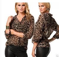 Blusas Femininas 2014 New Women Blouse Ladies Sexy Long Sleeve Leopard Print Chiffon Blouses Blusas Tops Shirt For Women RR668