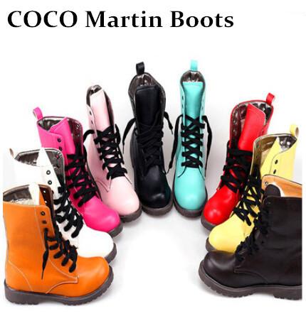 2014 Size35-40 Martin boots imitation Motorcycle boots Fashion Designer women shoes Flat round toe Lace up boots(China (Mainland))