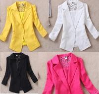 2014 New Lace Blazer Lady Suit Outwear Women OL Formal Slim Jacket Black White Plus Size S-XXL