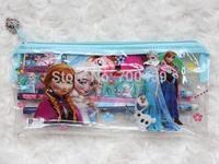 120 sets (7 in 1) Frozen princess pattern stationery set / school supplies / pencil case / ruler / sticker / eraser / kid gift