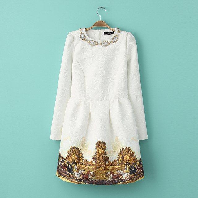 2014 nuova moda inverno abito vita delle donne handmade perline- pezzo abito di paillette