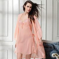 new 2014 chiffon summer women robe / sexy women bra set smooth women pajama sets nightgown sleepwear 2 pieces Free shipping
