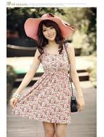 New Arrival Women Casual Dress Velvet O-neck Floral SLeeveless Summer Dress 2014