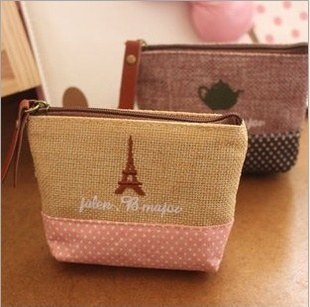 Fashion women coin purses!Cotton and linen material zero wallet,girl's lovely zipper change purse students coin bags(China (Mainland))