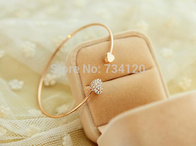 SB006 Mix wholesale order 10 Free Shipping heart crystal love opening gold plated bracelet crystal bracelets
