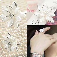 fashion cute snowdrop women's fresh flowers adjustable finger rings wholesale