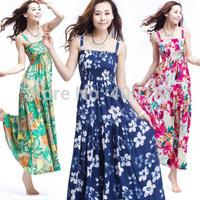 Free Shipping! NEW Arrival Women 2014 Summer Fashion Bohemia Cotton Beach Dress, maxi Size Printing Long dress