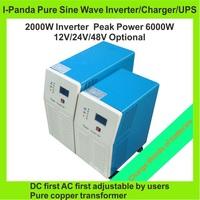 HOT SALE! Peak 6000W,2000W Off Grid Inverter 2KW Pure Sine Wave Inverter DC12V or 24V or 48V input, Wind Solar Power Inverter
