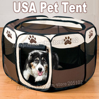 Folding Octagnal Tent USA Pet Stone Portable Pet Gog Cat Houses Kennels & Pens cage case,Oxford Fabric Steel Frame Pet Products