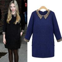 UK 2014 New Designer Women Winter Dress Plus Size S M XL,XXL,XXXL 5XL Black Royal Blue 3/4 Sleeves Woolen Sweater Dress Vestido