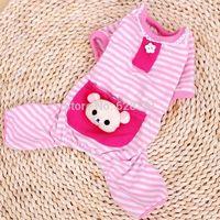 Cute Bear Comfy Dog Pajams Dog Shirt Stripes Dog Jumpsuit Pet Dog Clothes Free  Shipping