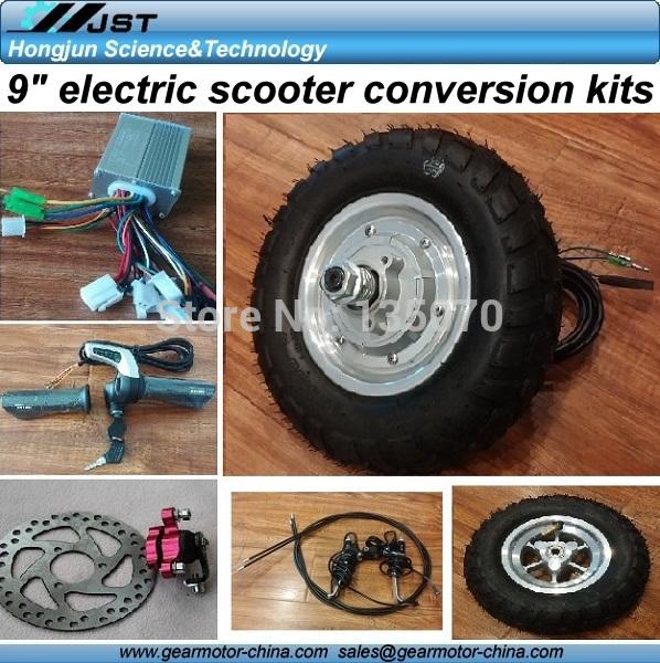 "cheap price 9"" 24V 36V 350W hub motor electric scooter conversion kits,9inch scooter hub motor kits, 9inch hub motor diy kits(China (Mainland))"