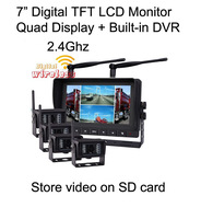 7 inch LCD + built-in DVR + 4pcs 2.4Ghz wireless rear view camera system  Upgraded version