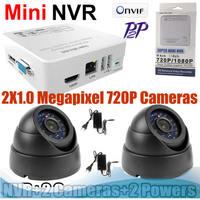Home 2CH 720p IP Camera Onvif 1.0 Network Camera NVR Security Cameras Kits