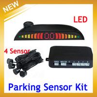 Car LED Parking Reverse Backup Radar System With Backlight Display+Multi-Color 4 Sensors ,Free Shipping Wholesale