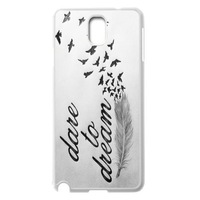 Dare To Dream Feather Life Quote Style White Case Protector Cover For Samsung Galaxy Note 3 III + Screen Protrector