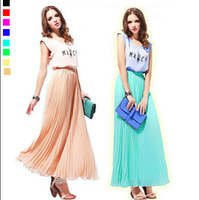 2014Fashion New Women Large Size Half-Length Bohemian Beach Pleated Casual Chiffon Long Skirt XL-4XL/XXXXL 024 , Free Shipping