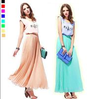 2014Fashion New Women Large Size Half-Length Bohemian Beach Pleated Casual Chiffon Long Skirt XL-4XL/XXXXL 024 , Free Shipping