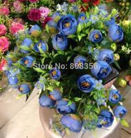 "20Pcs 34cm/13.39""  Length Five Colors Artificial Silk Flowers Simulation Rose Camellia Home Decoration Wedding Flower"