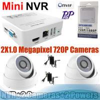 Network NVR HD IP CAMERA icloud P2P surveillance Security 2*720P CCTV IP CAMERA KIT CCTV System Mini  NVR