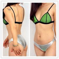 2014 Fashion Neon Mesh Neoprene Bikini Superfly Swimsuit Triangle Tops and Bottoms Neoprene Traingl Swimwear Plus Size XS-XL