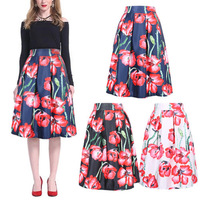 16 Colors New 2014 Spring Summer Vintage Cherry Flower Print Ball Gown Pleated Midi Skater Skirt Saia For Women Girl 14513